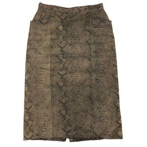 Krizia Vintage 1980s reptile print leather skirt